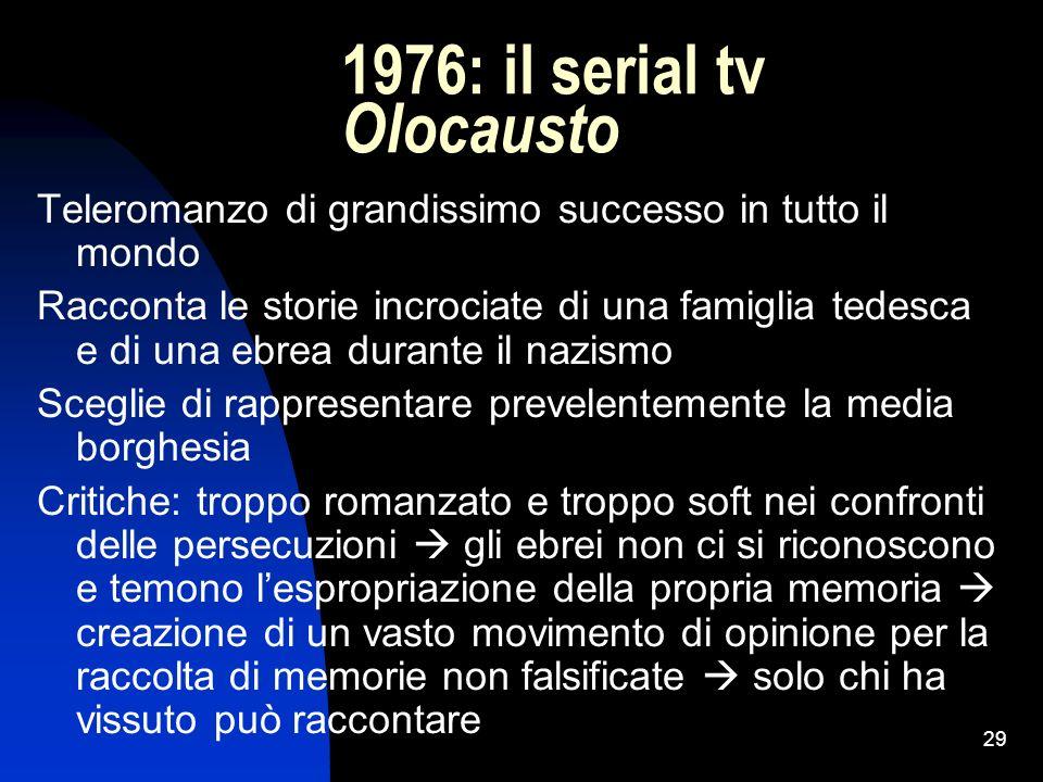 29 1976: il serial tv Olocausto Teleromanzo di grandissimo successo in tutto il mondo Racconta le storie incrociate di una famiglia tedesca e di una e
