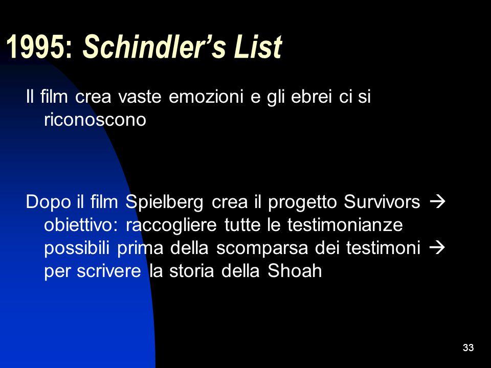 33 1995: Schindlers List Il film crea vaste emozioni e gli ebrei ci si riconoscono Dopo il film Spielberg crea il progetto Survivors obiettivo: raccog