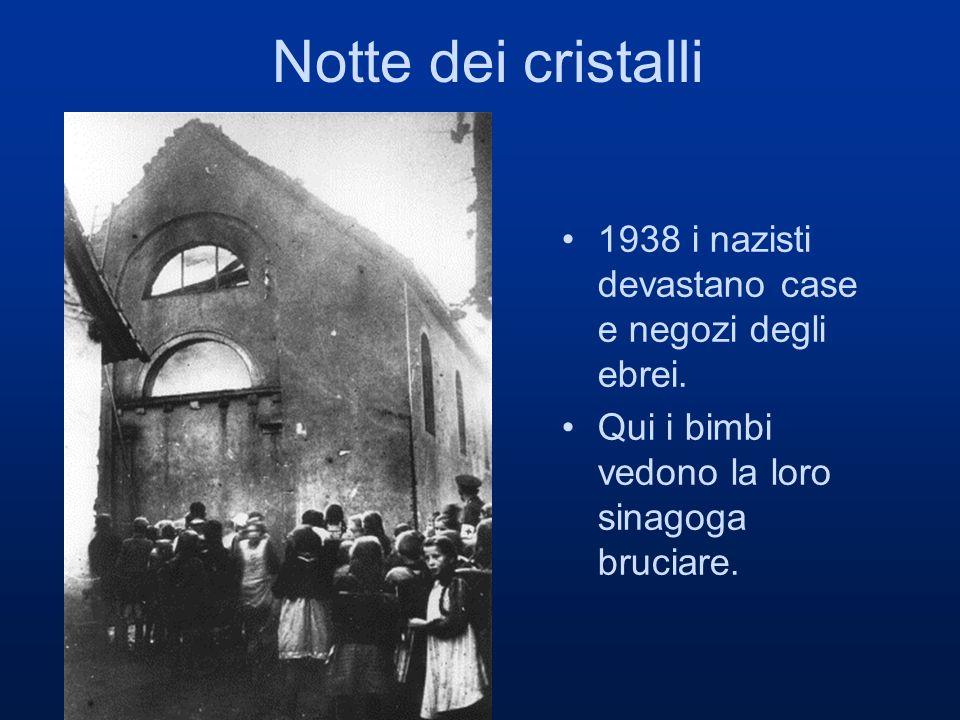 Notte dei cristalli 1938 i nazisti devastano case e negozi degli ebrei. Qui i bimbi vedono la loro sinagoga bruciare.