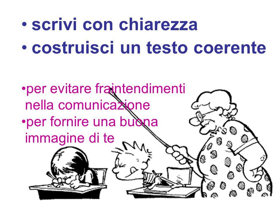 scrivi con chiarezza costruisci un testo coerente per evitare fraintendimenti nella comunicazione per fornire una buona immagine di te