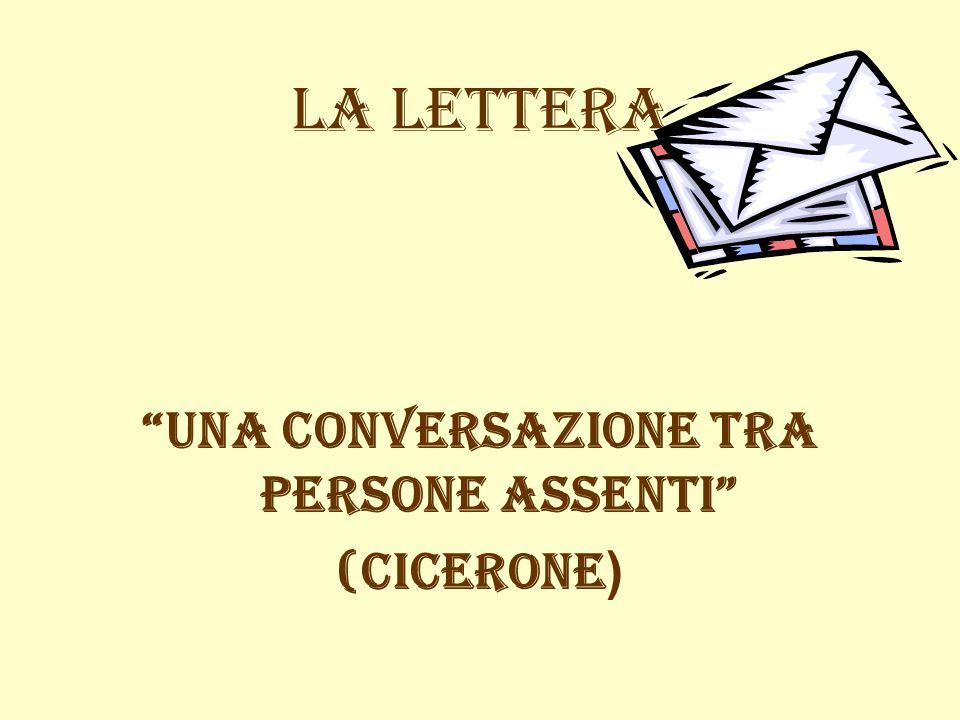 LA LETTERA una conversazione tra persone assenti (Cicerone )