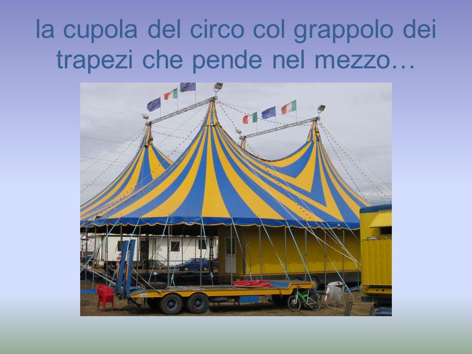 la cupola del circo col grappolo dei trapezi che pende nel mezzo…