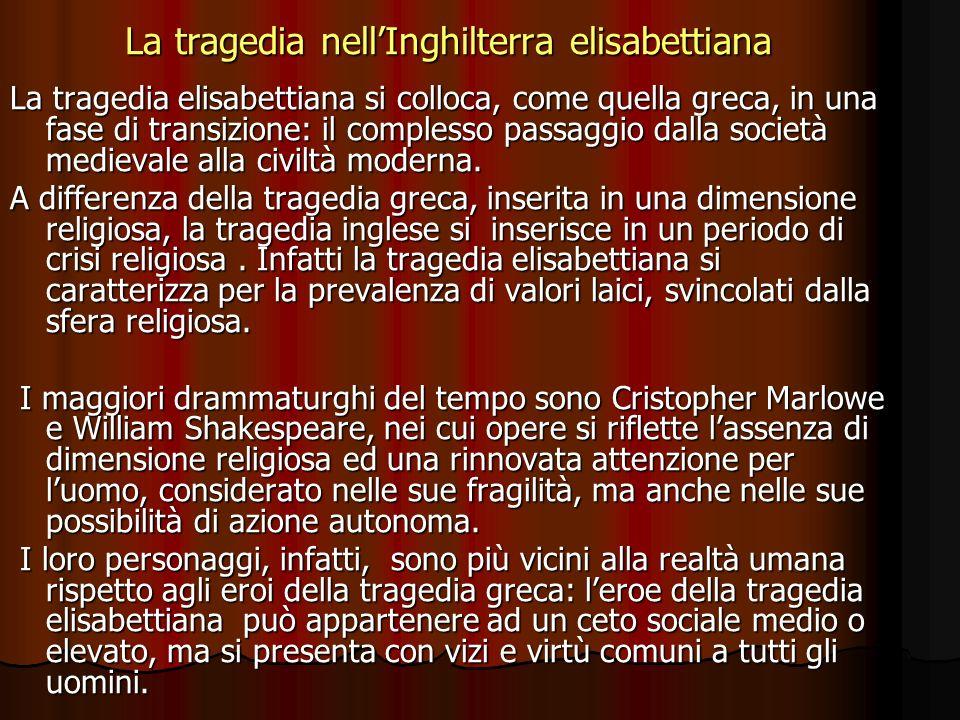 La tragedia nellInghilterra elisabettiana La tragedia elisabettiana si colloca, come quella greca, in una fase di transizione: il complesso passaggio dalla società medievale alla civiltà moderna.
