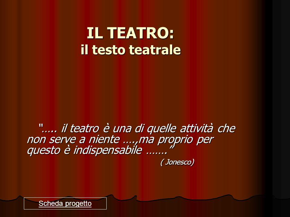 IL TEATRO: il testo teatrale ….. il teatro è una di quelle attività che non serve a niente ….,ma proprio per questo è indispensabile ……. ( Jonesco) ….