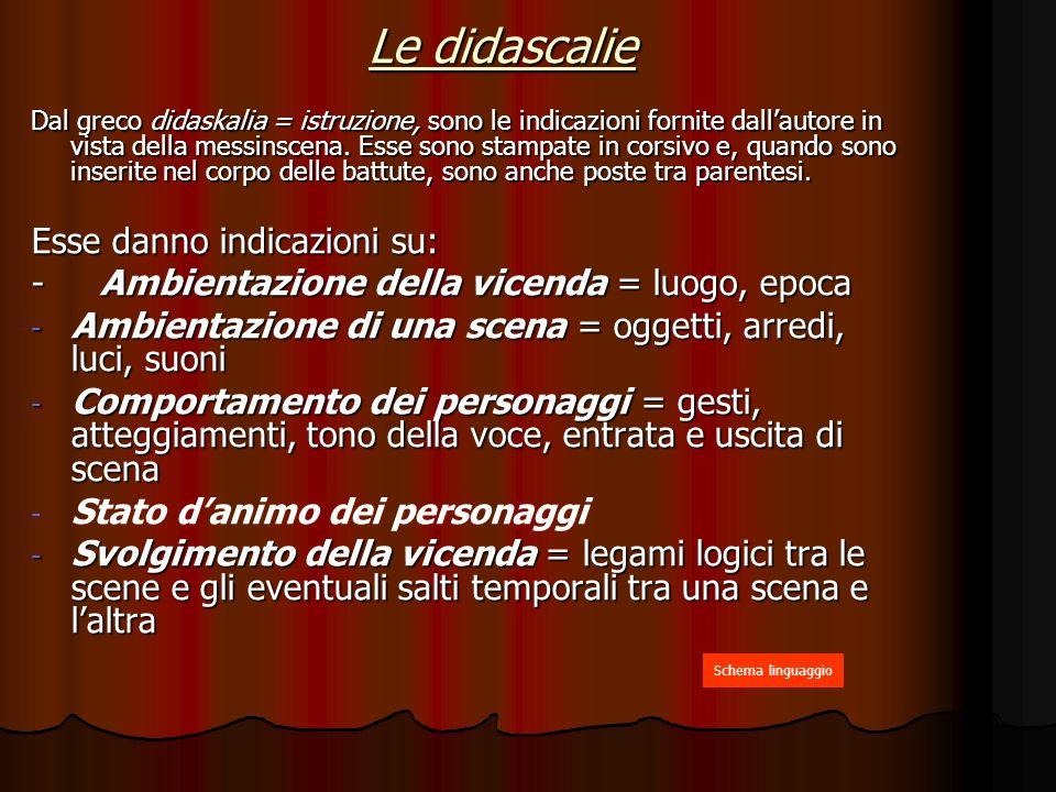 Le didascalie Dal greco didaskalia = istruzione, sono le indicazioni fornite dallautore in vista della messinscena.