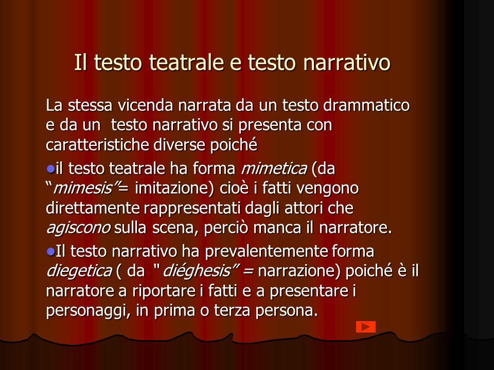 Il testo teatrale e testo narrativo La stessa vicenda narrata da un testo drammatico e da un testo narrativo si presenta con caratteristiche diverse p