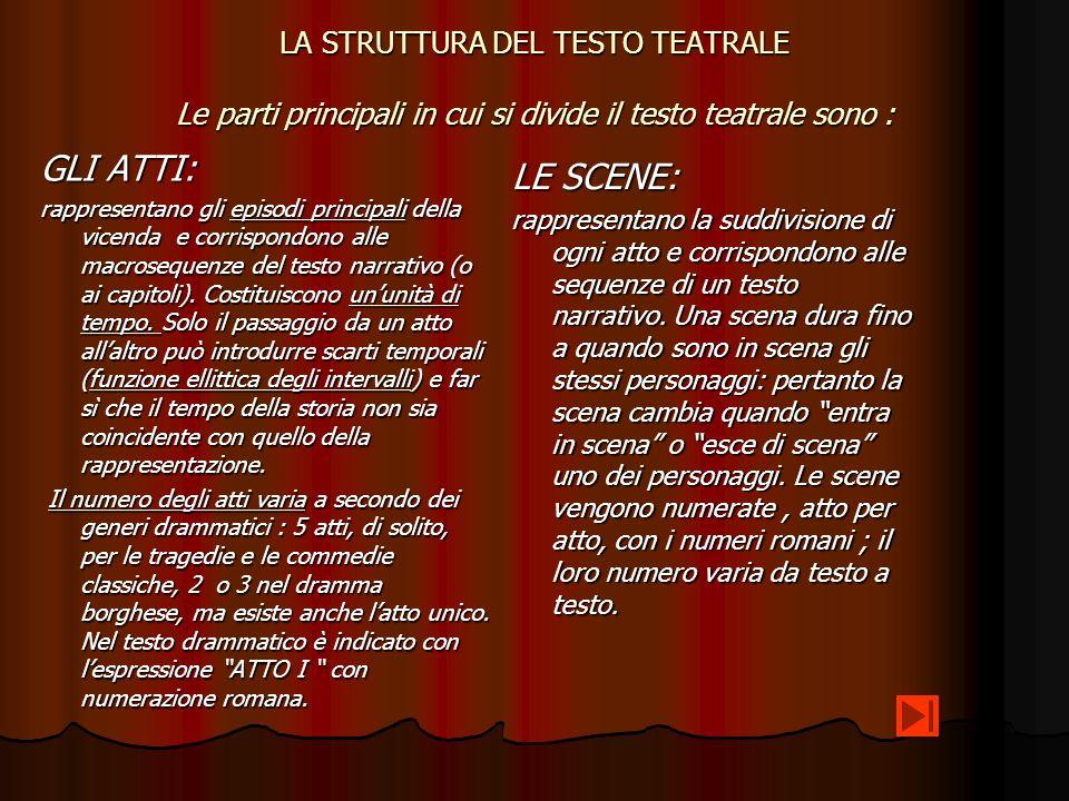 LA STRUTTURA DEL TESTO TEATRALE Le parti principali in cui si divide il testo teatrale sono : GLI ATTI: rappresentano gli episodi principali della vic