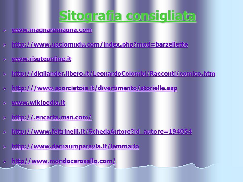 Sitografia consigliata www.magnaromagna.com www.magnaromagna.com www.magnaromagna.com http://www.ucciomudu.com/index.php?mod=barzellette http://www.uc