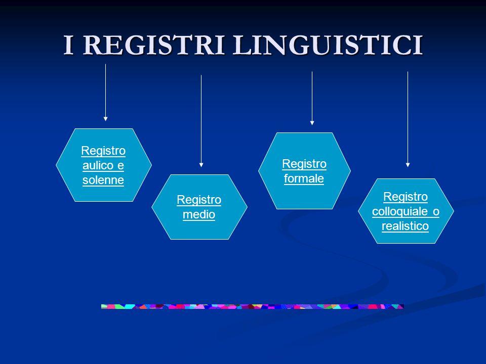 I REGISTRI LINGUISTICI Registro colloquiale o realistico Registro formale Registro medio Registro aulico e solenne