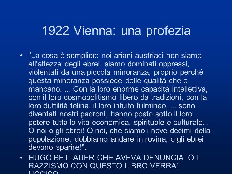 1922 Vienna: una profezia La cosa è semplice: noi ariani austriaci non siamo allaltezza degli ebrei, siamo dominati oppressi, violentati da una piccola minoranza, proprio perché questa minoranza possiede delle qualità che ci mancano....