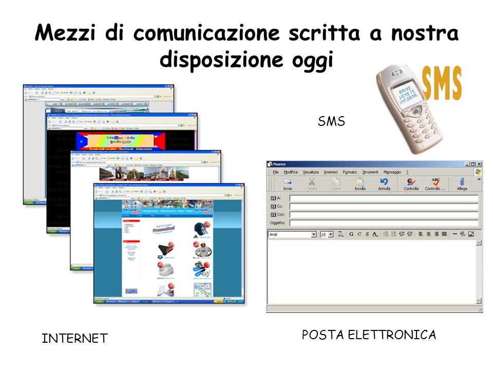 Mezzi di comunicazione scritta a nostra disposizione oggi SMS INTERNET POSTA ELETTRONICA