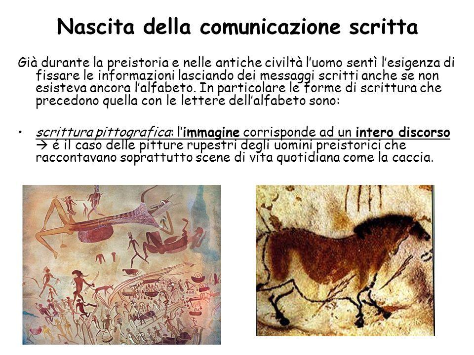 Nascita della comunicazione scritta Già durante la preistoria e nelle antiche civiltà luomo sentì lesigenza di fissare le informazioni lasciando dei m