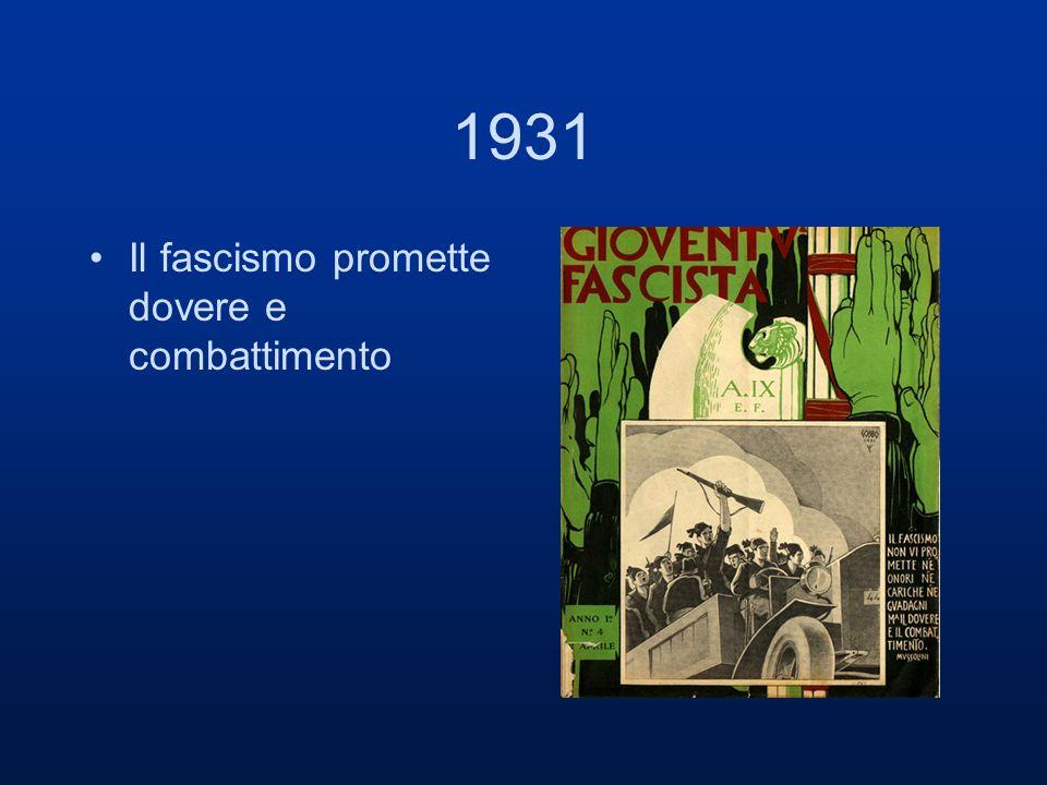 1931 Il fascismo promette dovere e combattimento