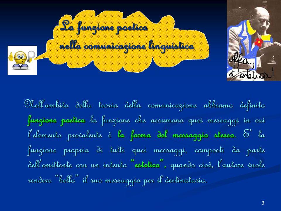 3 Nellambito della teoria della comunicazione abbiamo definito funzione poetica la funzione che assumono quei messaggi in cui lelemento prevalente è la forma del messaggio stesso.