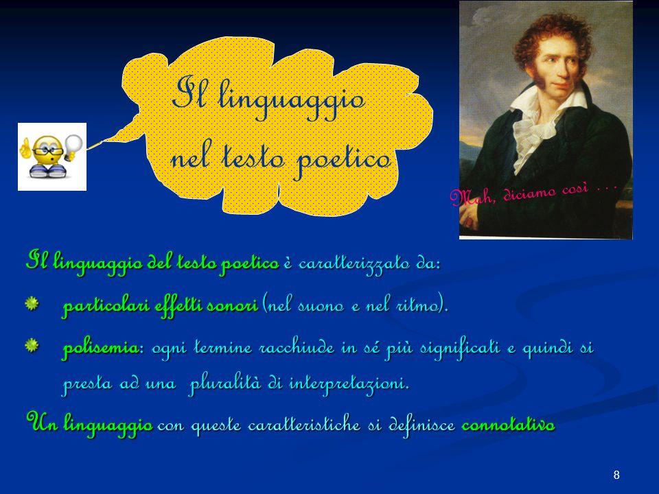 8 Il linguaggio del testo poetico poetico è caratterizzato da: particolari effetti sonori sonori (nel suono e nel ritmo).