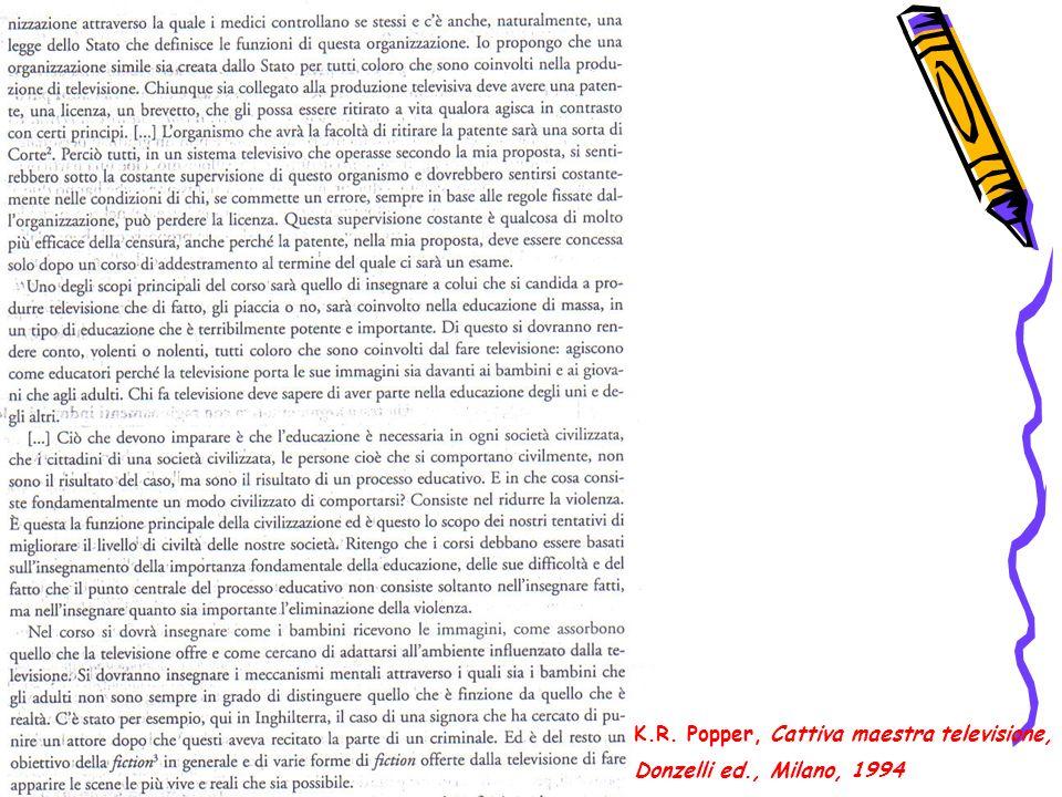 K.R. Popper, Cattiva maestra televisione, Donzelli ed., Milano, 1994