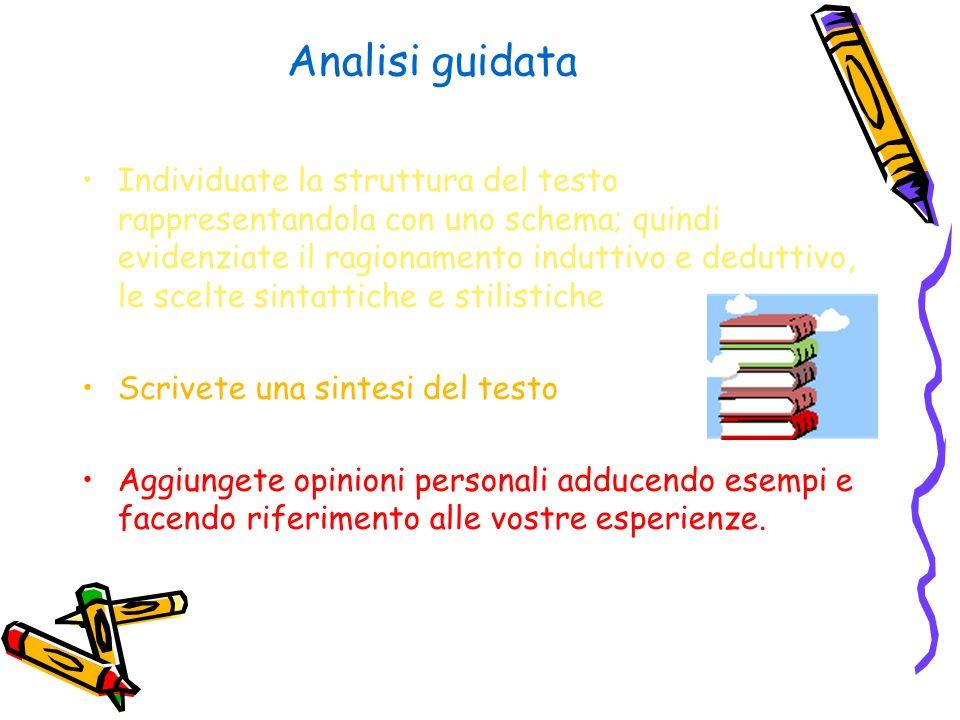 Analisi guidata Individuate la struttura del testo rappresentandola con uno schema; quindi evidenziate il ragionamento induttivo e deduttivo, le scelt
