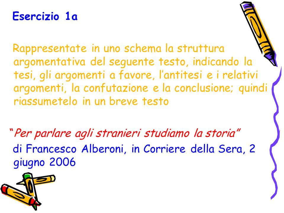Esercizio 1a Rappresentate in uno schema la struttura argomentativa del seguente testo, indicando la tesi, gli argomenti a favore, lantitesi e i relat
