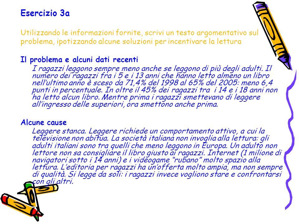 Esercizio 3a Utilizzando le informazioni fornite, scrivi un testo argomentativo sul problema, ipotizzando alcune soluzioni per incentivare la lettura