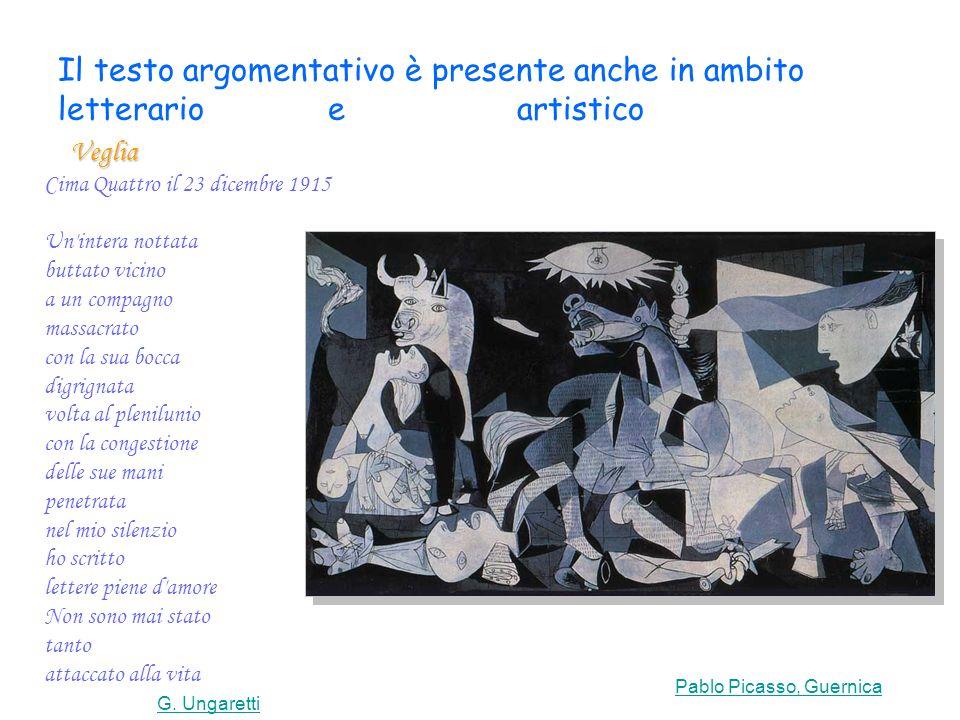 Il testo argomentativo è presente anche in ambito letterario e artistico Pablo Picasso, Guernica
