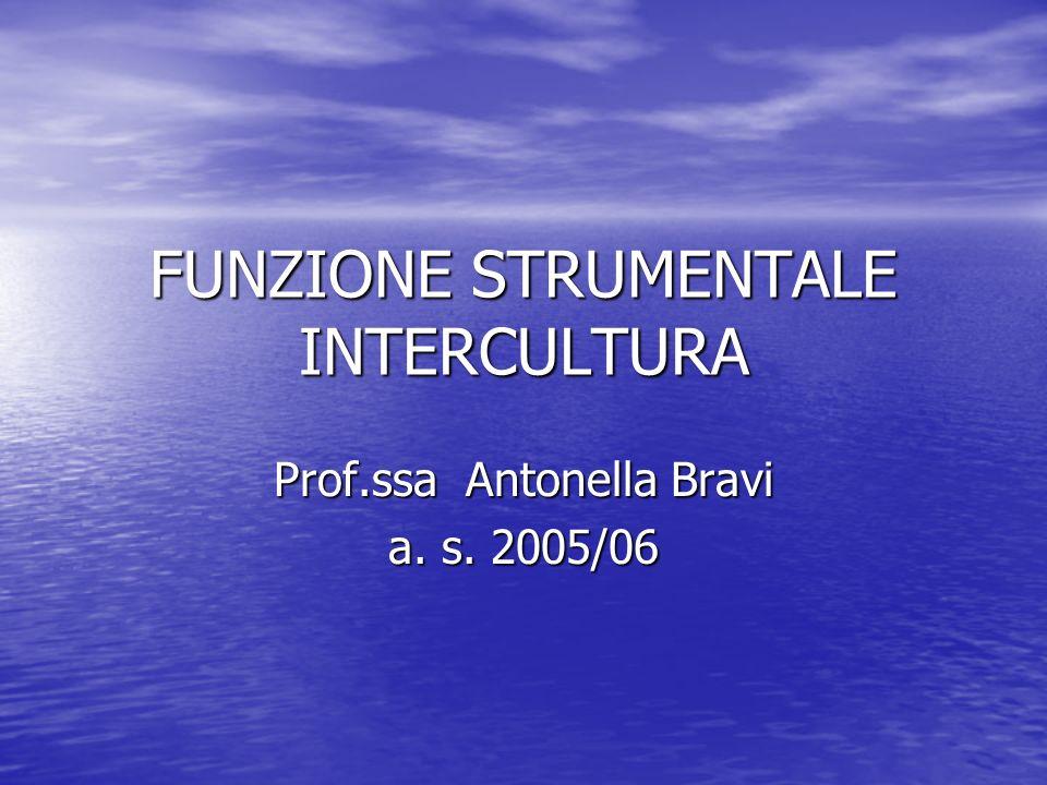 FUNZIONE STRUMENTALE INTERCULTURA Prof.ssa Antonella Bravi a. s. 2005/06