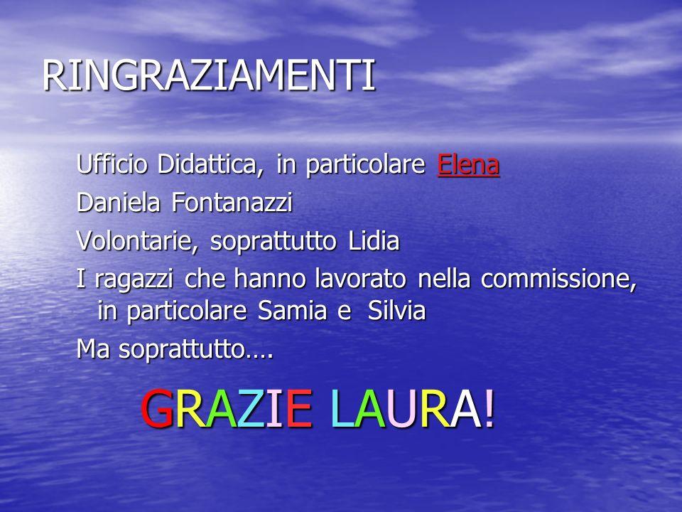 RINGRAZIAMENTI Ufficio Didattica, in particolare Elena Daniela Fontanazzi Volontarie, soprattutto Lidia I ragazzi che hanno lavorato nella commissione