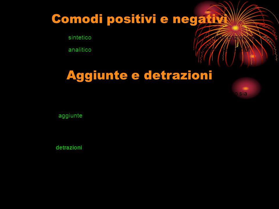 Comodi positivi e negativi Con procedimento sintetico i comodi sono considerati con coefficienti di differenziazione.