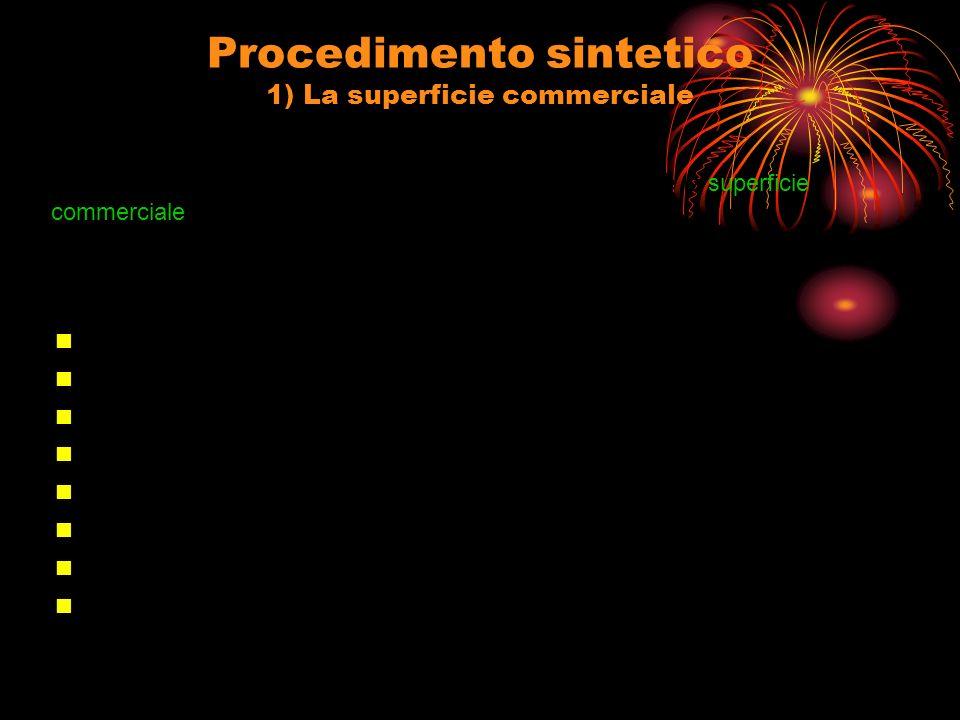 Procedimento sintetico 1) La superficie commerciale Il parametro di confronto (p x ) per la stima di un fabbricato è la superficie commerciale (in metri quadrati).