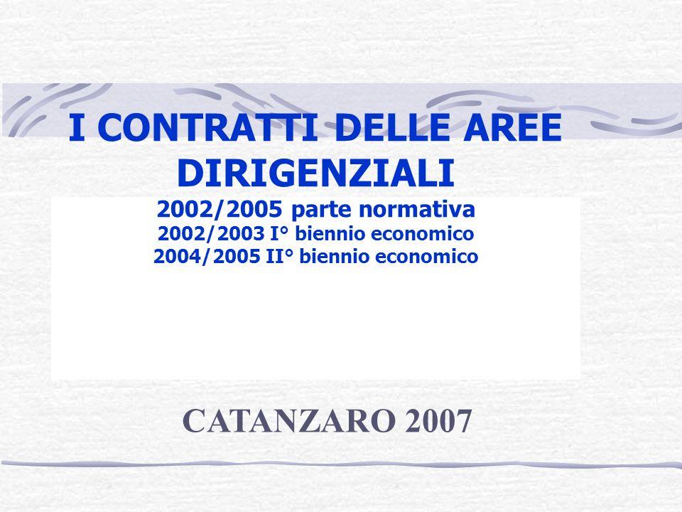 I CONTRATTI DELLE AREE DIRIGENZIALI 2002/2005 parte normativa 2002/2003 I° biennio economico 2004/2005 II° biennio economico CATANZARO 2007