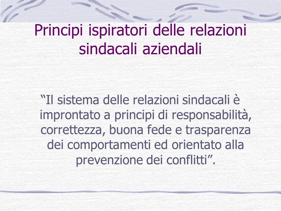 Principi ispiratori delle relazioni sindacali aziendali Il sistema delle relazioni sindacali è improntato a principi di responsabilità, correttezza, buona fede e trasparenza dei comportamenti ed orientato alla prevenzione dei conflitti.