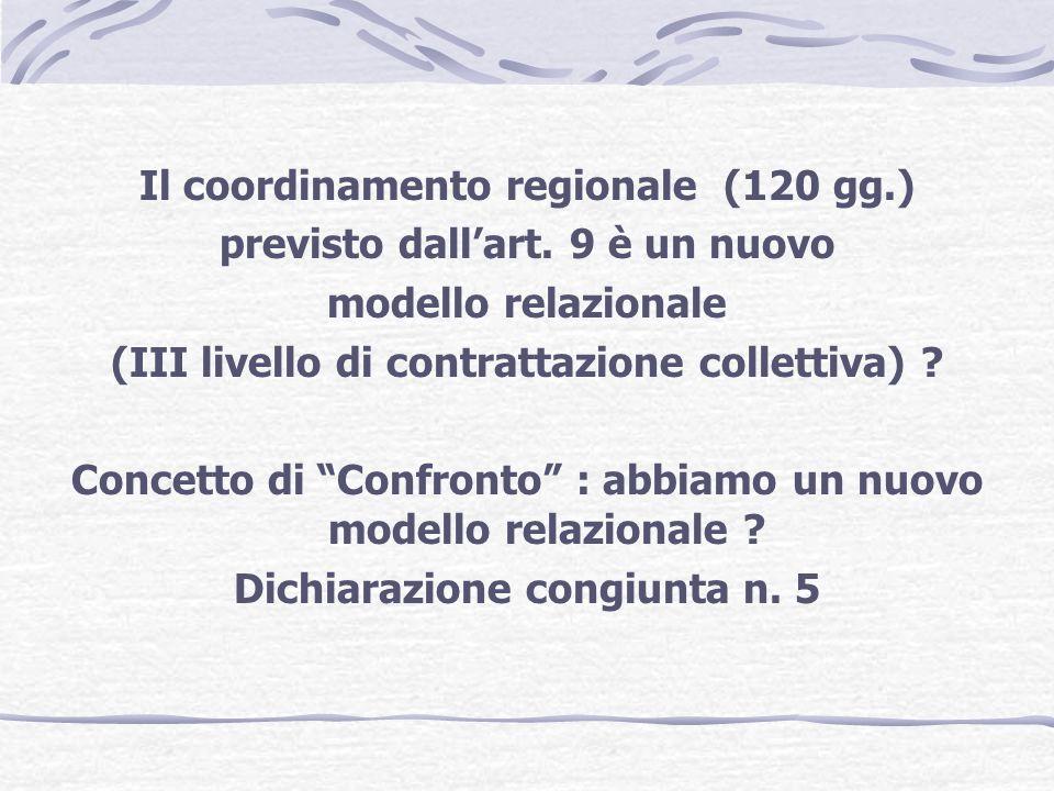 Il coordinamento regionale (120 gg.) previsto dallart.