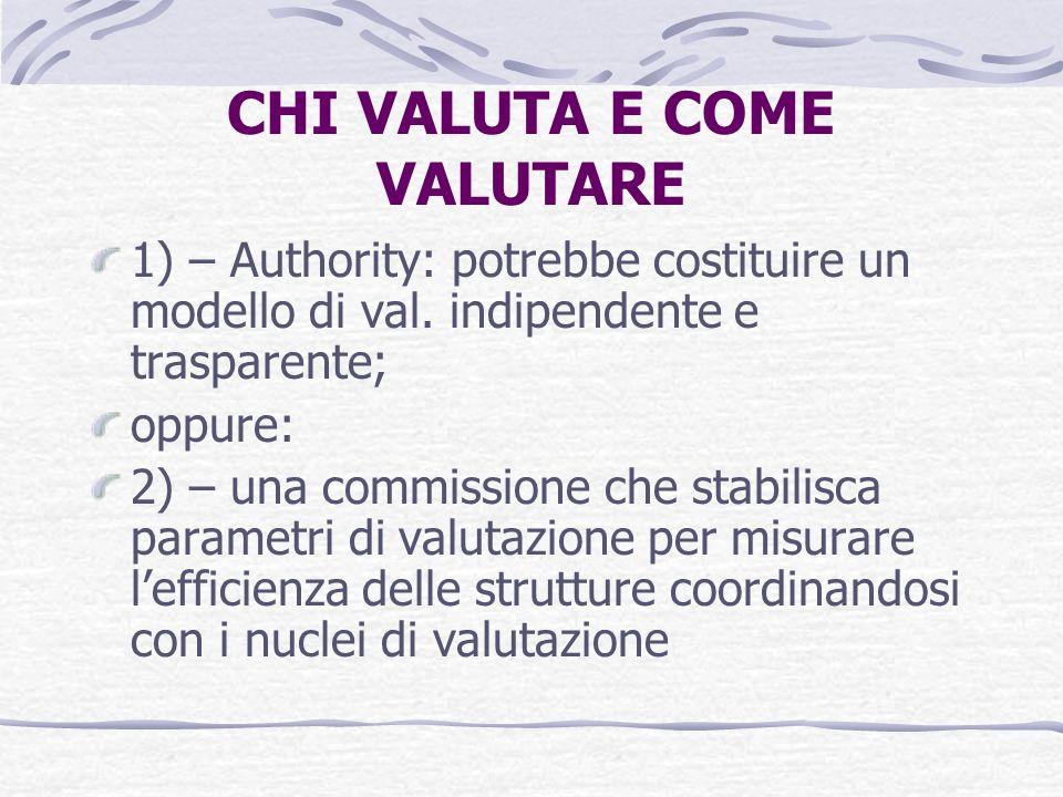 CHI VALUTA E COME VALUTARE 1) – Authority: potrebbe costituire un modello di val.