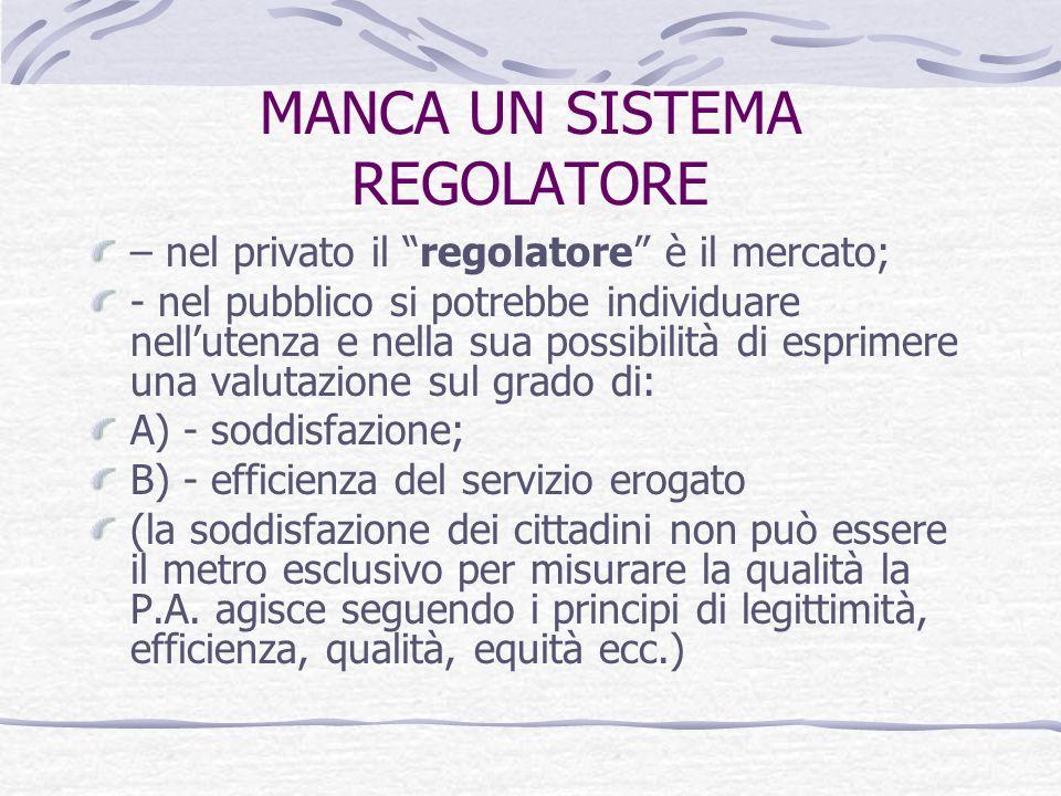 MANCA UN SISTEMA REGOLATORE – nel privato il regolatore è il mercato; - nel pubblico si potrebbe individuare nellutenza e nella sua possibilità di esprimere una valutazione sul grado di: A) - soddisfazione; B) - efficienza del servizio erogato (la soddisfazione dei cittadini non può essere il metro esclusivo per misurare la qualità la P.A.