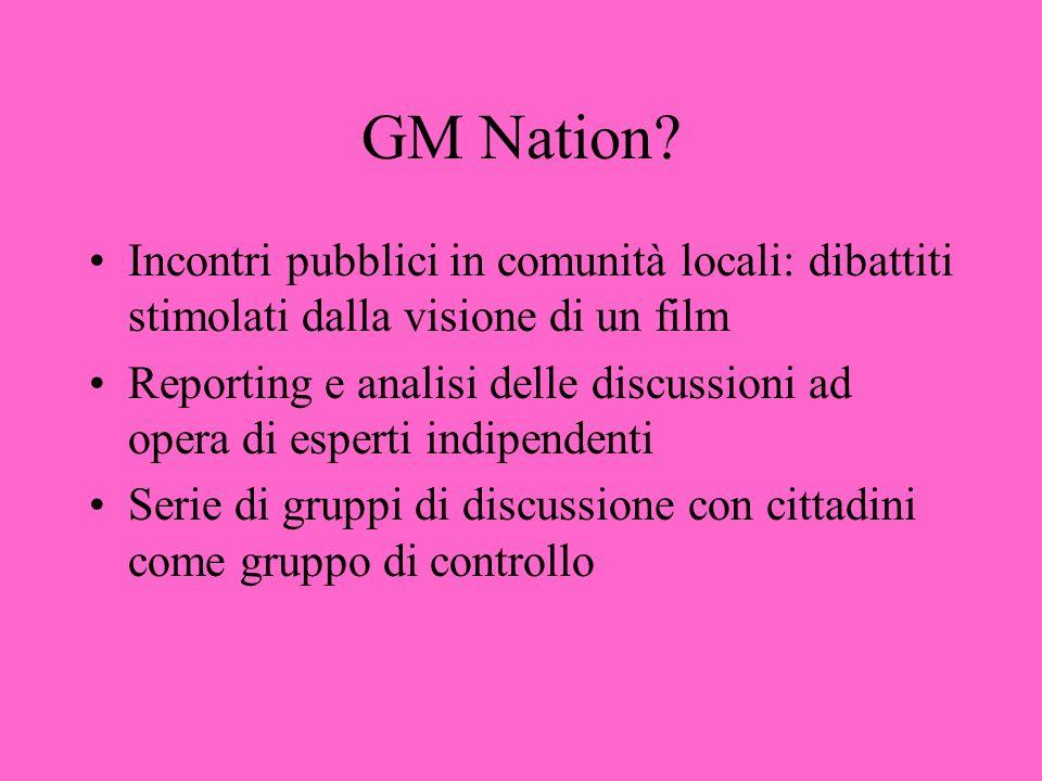 GM Nation? Incontri pubblici in comunità locali: dibattiti stimolati dalla visione di un film Reporting e analisi delle discussioni ad opera di espert
