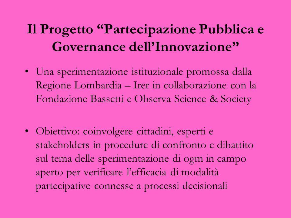 Il Progetto Partecipazione Pubblica e Governance dellInnovazione Una sperimentazione istituzionale promossa dalla Regione Lombardia – Irer in collabor