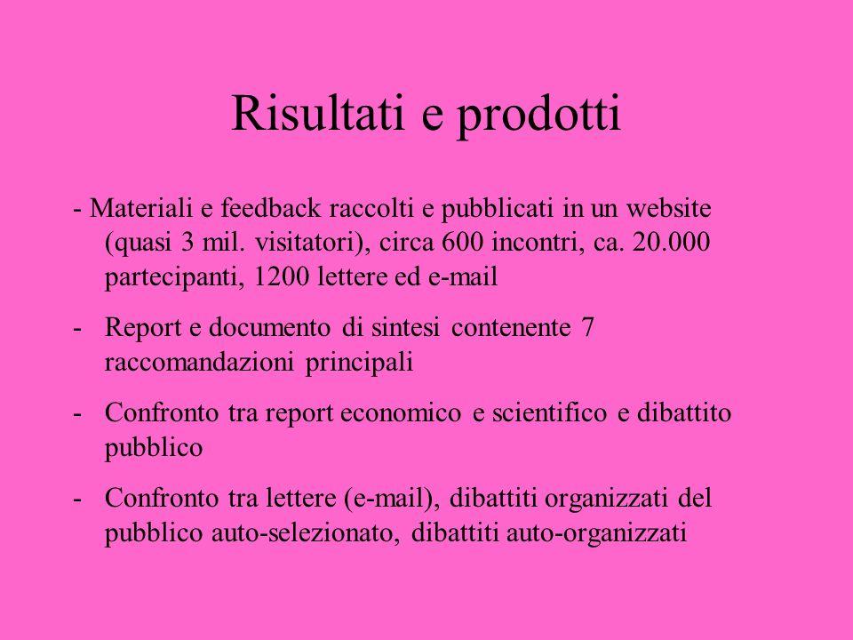 Risultati e prodotti - Materiali e feedback raccolti e pubblicati in un website (quasi 3 mil. visitatori), circa 600 incontri, ca. 20.000 partecipanti