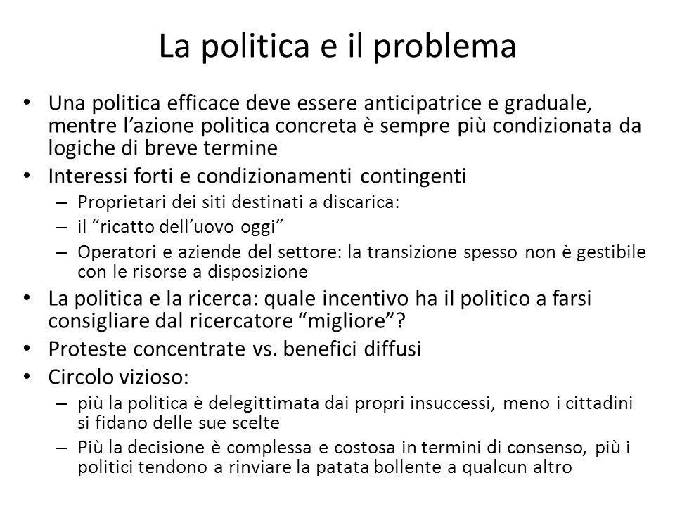 La politica e il problema Una politica efficace deve essere anticipatrice e graduale, mentre lazione politica concreta è sempre più condizionata da lo