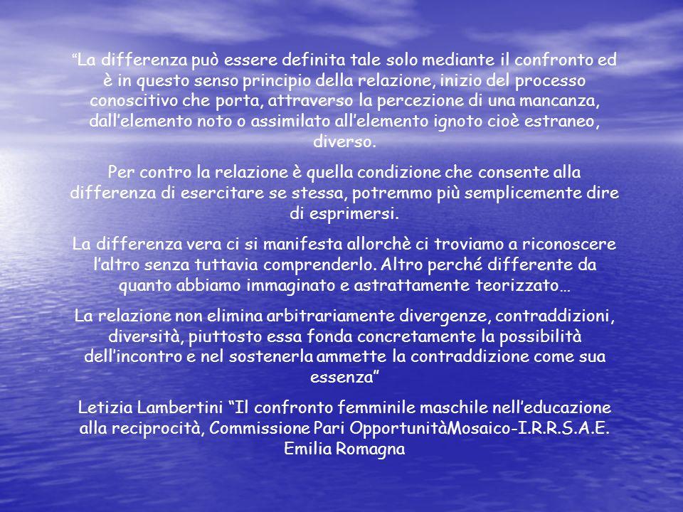 La differenza può essere definita tale solo mediante il confronto ed è in questo senso principio della relazione, inizio del processo conoscitivo che