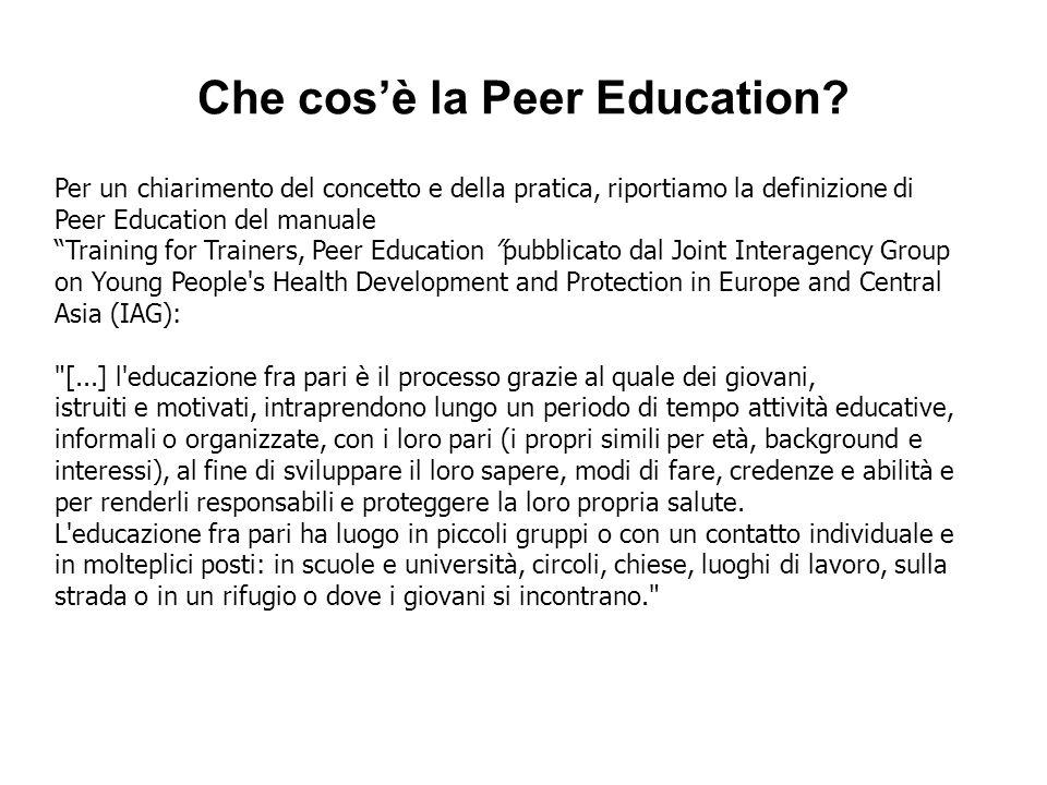 Per un chiarimento del concetto e della pratica, riportiamo la definizione di Peer Education del manuale Training for Trainers, Peer Education pubblic