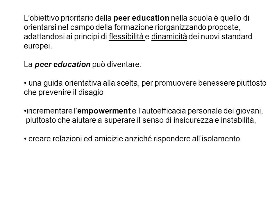 Lobiettivo prioritario della peer education nella scuola è quello di orientarsi nel campo della formazione riorganizzando proposte, adattandosi ai pri