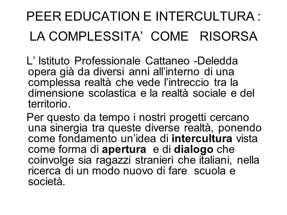 PEER EDUCATION E INTERCULTURA : LA COMPLESSITA COME RISORSA L Istituto Professionale Cattaneo -Deledda opera già da diversi anni allinterno di una com