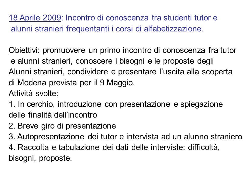 18 Aprile 2009: Incontro di conoscenza tra studenti tutor e alunni stranieri frequentanti i corsi di alfabetizzazione. Obiettivi: promuovere un primo