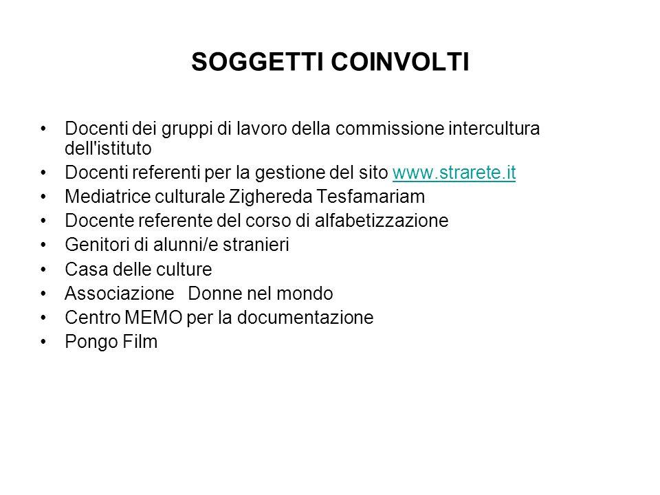 SOGGETTI COINVOLTI Docenti dei gruppi di lavoro della commissione intercultura dell'istituto Docenti referenti per la gestione del sito www.strarete.i