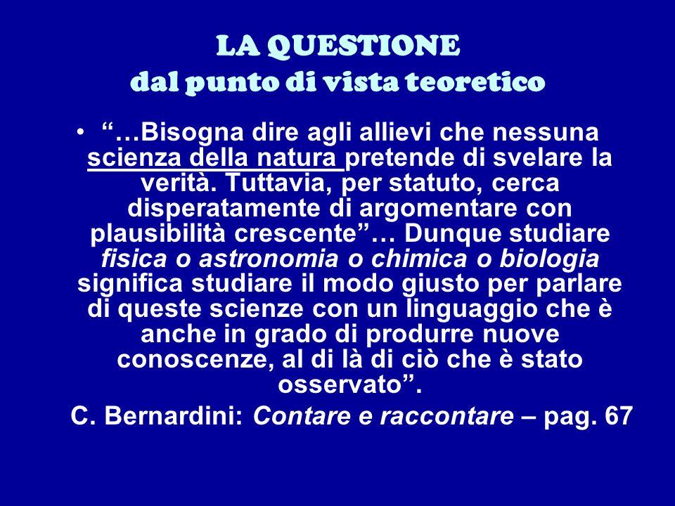 LA QUESTIONE dal punto di vista teoretico …Bisogna dire agli allievi che nessuna scienza della natura pretende di svelare la verità.
