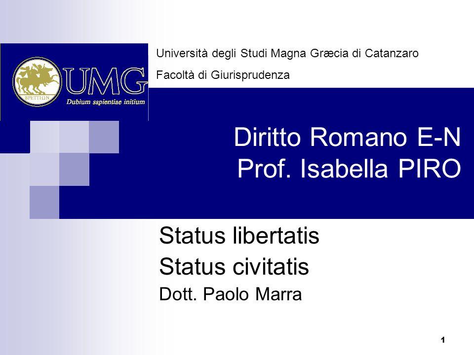 1 Diritto Romano E-N Prof. Isabella PIRO Status libertatis Status civitatis Dott. Paolo Marra Università degli Studi Magna Græcia di Catanzaro Facoltà
