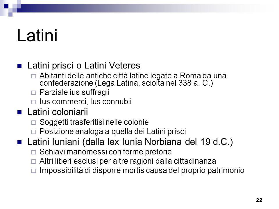 22 Latini Latini prisci o Latini Veteres Abitanti delle antiche città latine legate a Roma da una confederazione (Lega Latina, sciolta nel 338 a. C.)