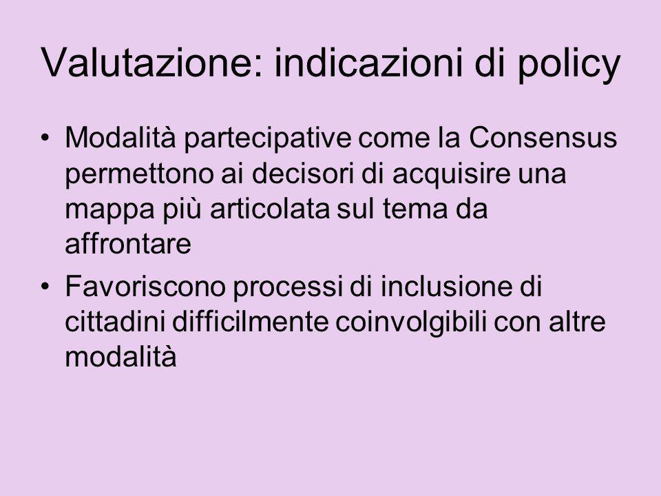 Valutazione: indicazioni di policy Modalità partecipative come la Consensus permettono ai decisori di acquisire una mappa più articolata sul tema da a