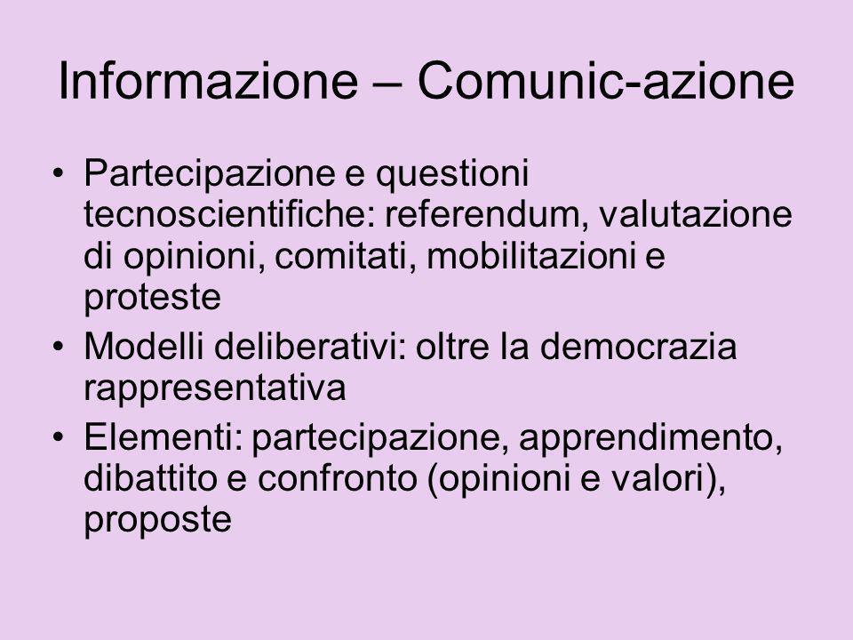 Partecipazione e questioni tecnoscientifiche: referendum, valutazione di opinioni, comitati, mobilitazioni e proteste Modelli deliberativi: oltre la d