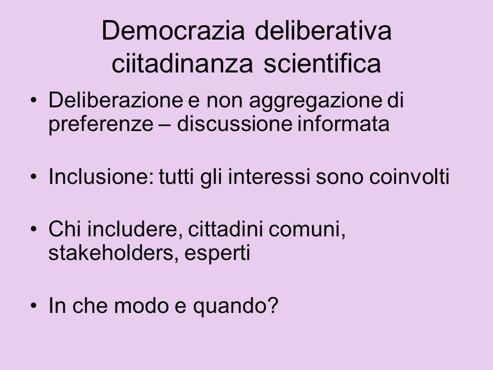 Democrazia deliberativa ciitadinanza scientifica Deliberazione e non aggregazione di preferenze – discussione informata Inclusione: tutti gli interess