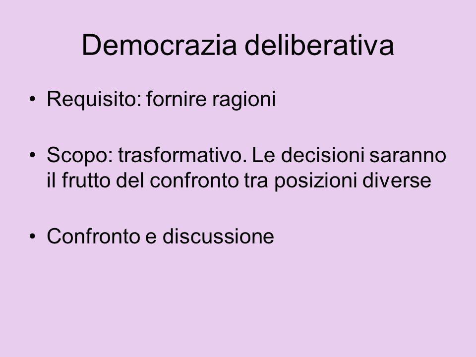 Democrazia deliberativa Requisito: fornire ragioni Scopo: trasformativo. Le decisioni saranno il frutto del confronto tra posizioni diverse Confronto